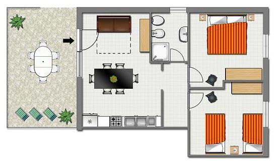 affitto trilocale (4/6 posti) in casa vacanze palinuro nel cilento - Soggiorno Con Angolo Cottura 20 Mq